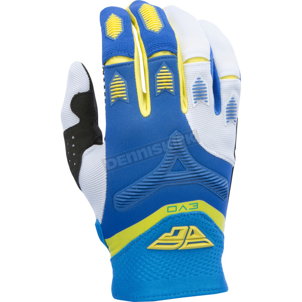 Fly Racing Blue/Yellow/White Evolution 2.0 Gloves - 370-11109