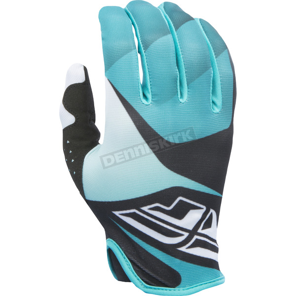 Fly Racing Black/White/Teal Lite Gloves - 370-01009