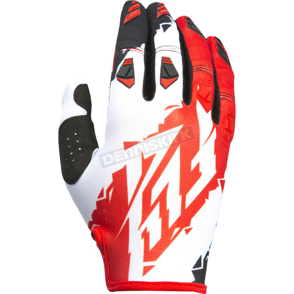 Fly Racing Youth Red/White Kinetic Gloves - 370-41405