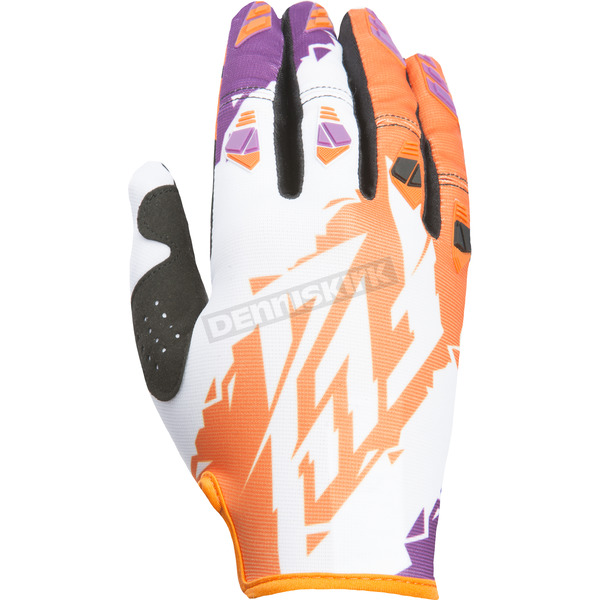 Fly Racing Orange/White/Purple Kinetic Gloves - 370-41711