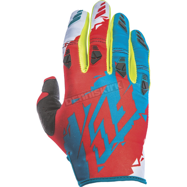 Fly Racing Youth Dark Teal/Red Kinetic Gloves - 370-41804