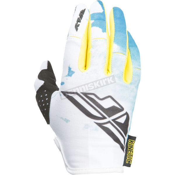 Fly Racing Women's Teal/Yellow Kinetic Gloves - 370-61809
