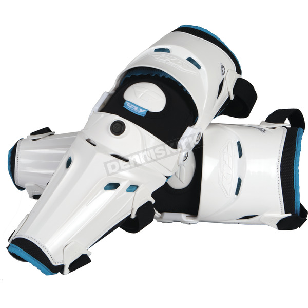 Fly Racing White Pivot 5 Knee Guard - 28-3095