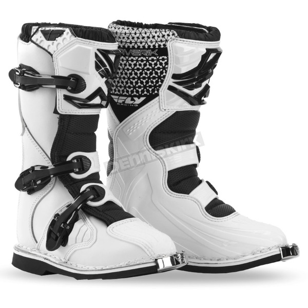 Fly Racing Youth White Maverik Boots - 364-56405