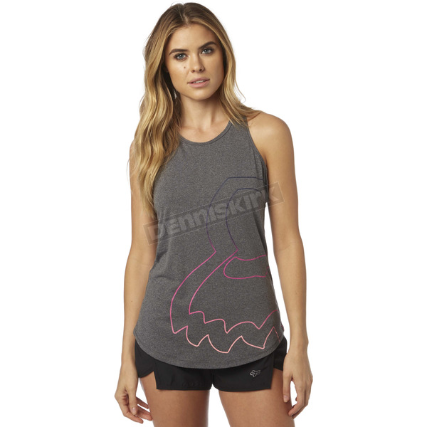 Fox Women's Heather Gray Eyecon T Back Tank Top - 18563-040-L
