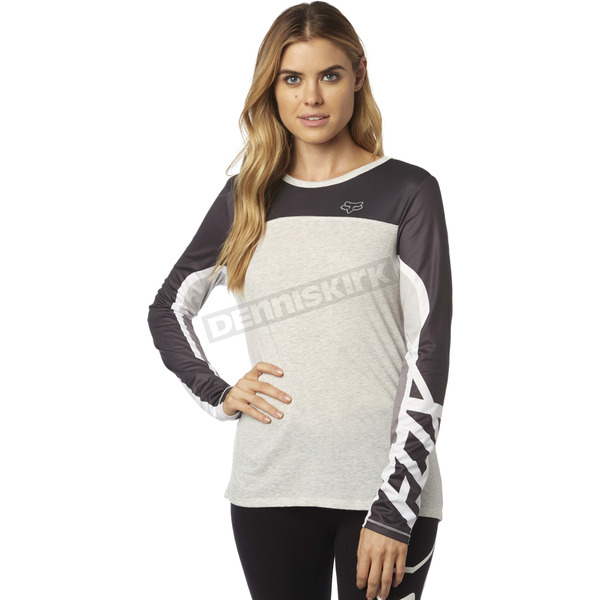 Fox Women's Light Heather Gray Comparted Long Sleeve Shirt - 18591-416-L