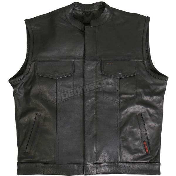 Hot Leathers Hidden Snap w/Zipper Vest - VSM1031XL