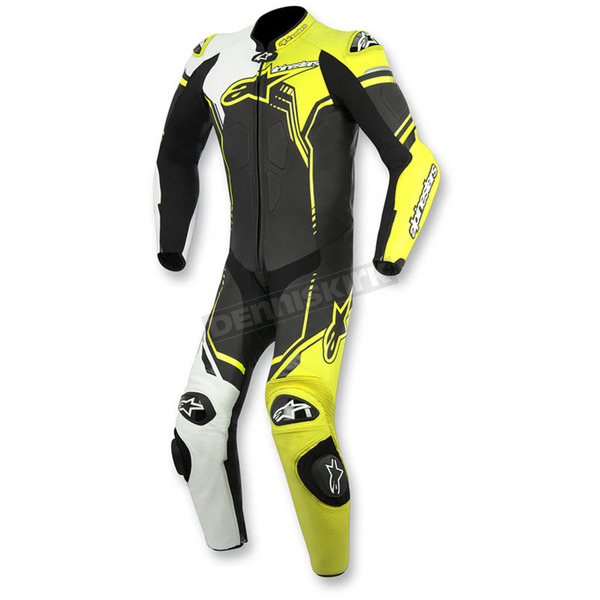 Alpinestars Black/White/Flo Yellow GP Plus 1-Piece Leather Race Suit - 3150516-125-48