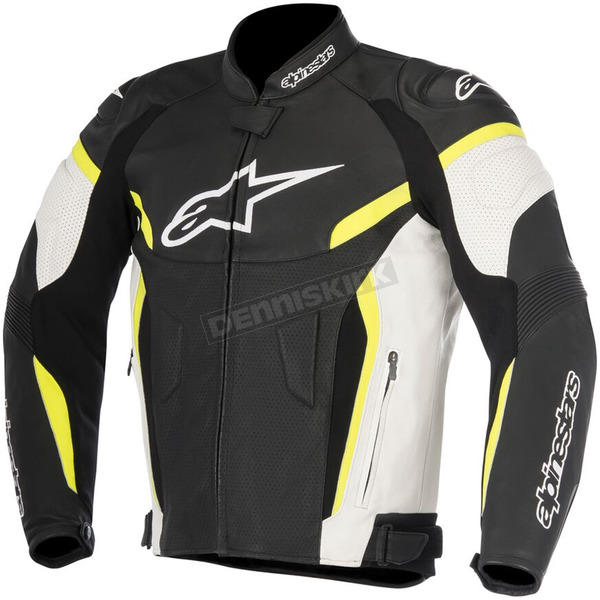Alpinestars Black/White/Fluorescent Yellow GP Plus R v2 Airflow Leather Jacket - 3100617-125-50