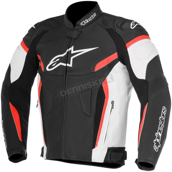 Alpinestars White/Black/Red GP Plus R v2 Airflow Leather Jacket - 3100617-123-48