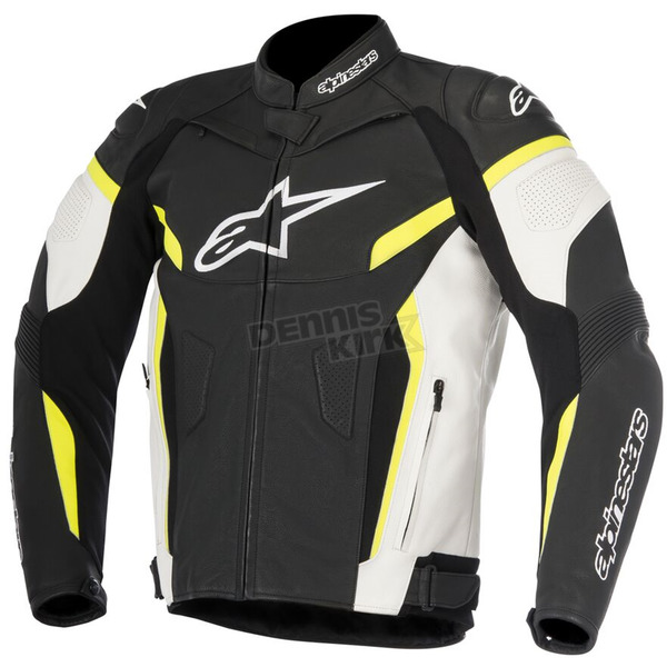 White/Black/Fluorescent Yellow GP Plus R v2 Leather Jacket - 3100517-125-56