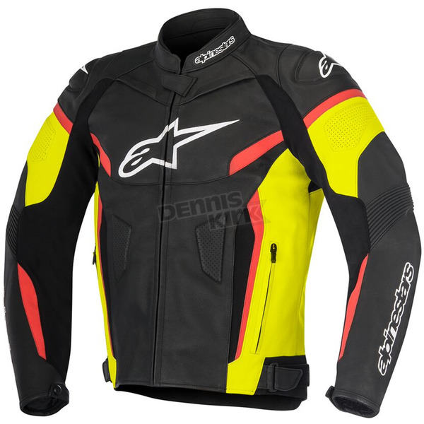 Alpinestars Black/Yellow/Fluorescent Red GP Plus R v2 Leather Jacket - 3100517-1538-56