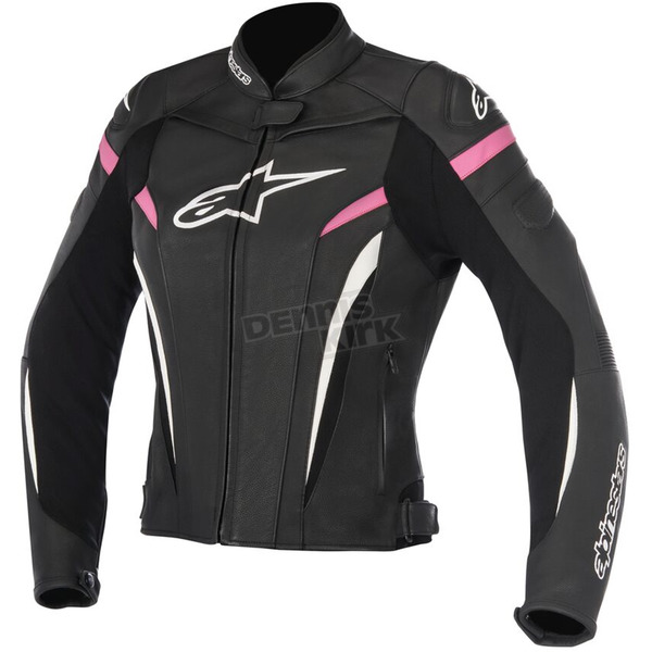 Alpinestars Womens Black/White/Fuchsia Stella GP Plus R v2 Leather Jacket - 3110517-1039-48