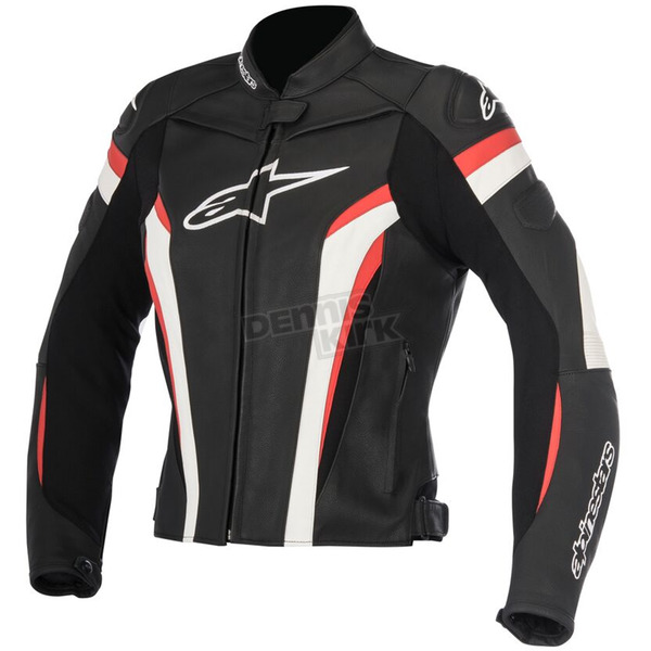 Alpinestars Womens Black/White/Red Stella GP Plus R v2 Leather Jacket - 3110517-123-40