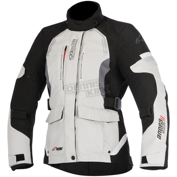 Alpinestars Womens Light Gray/Black/Dark Gray Stella Andes v2 Drystar Jacket - 3217517-9219-S