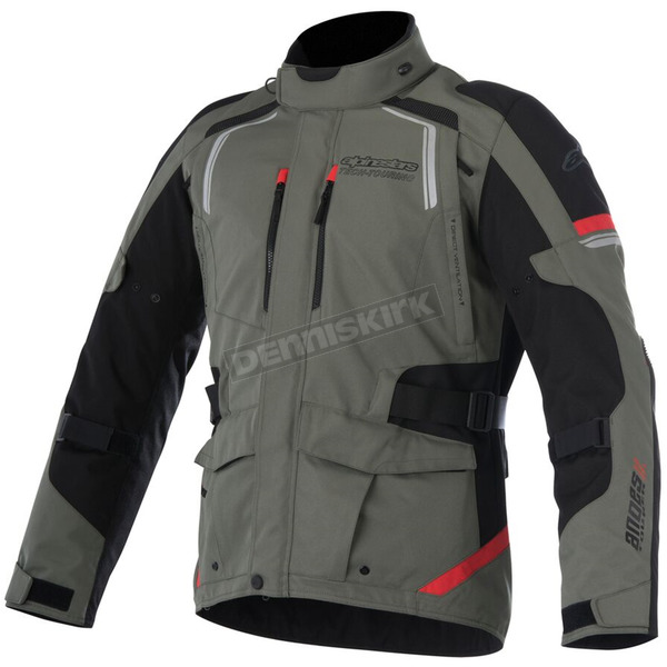 Alpinestars Military Green/Black/Red Andes v2 Drystar Jacket - 3207517-6083-XL