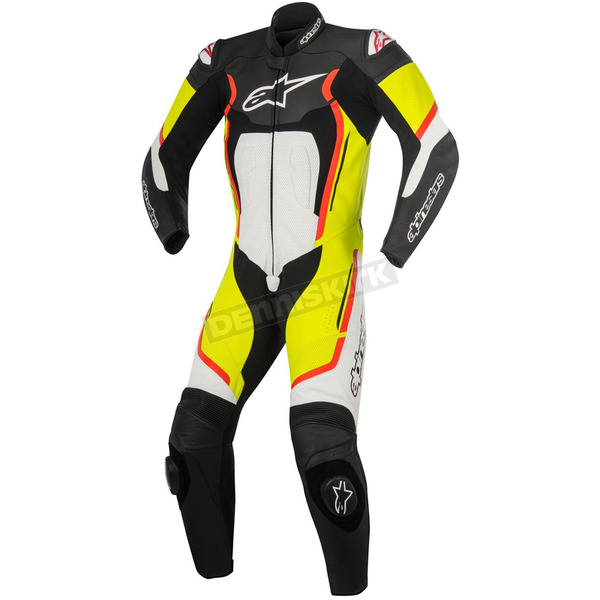 Alpinestars Black/White/Yellow/Red Motegi v2 One-Piece Riding Suit - 3151017-1253-50