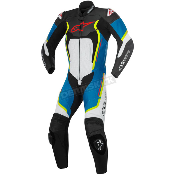 Alpinestars Black/White/Blue/Yellow Motegi v2 One-Piece Riding Suite - 3151017-1275-48