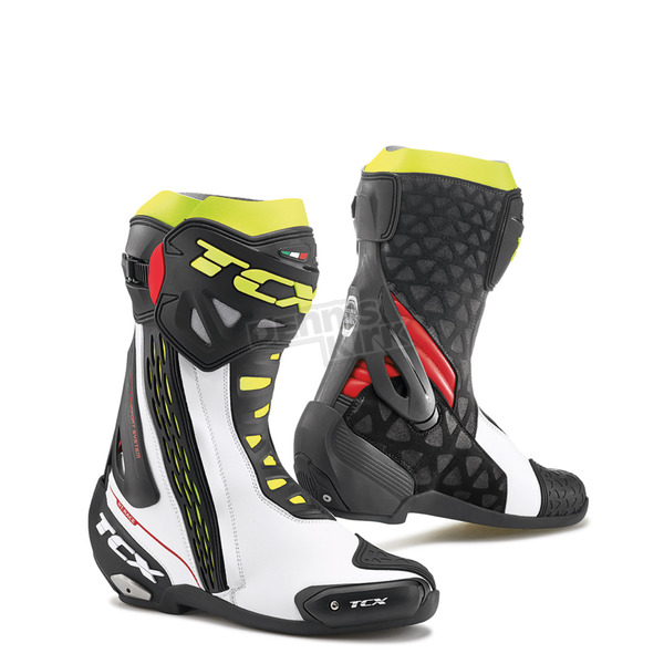 TCX White/Red/Yellow Fluorescent RT-Race Boots - 7655-BIRY-41