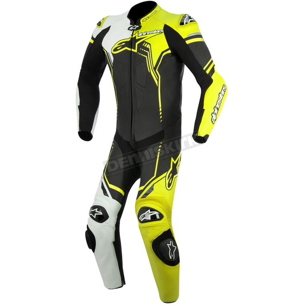 Alpinestars Black/White/Flo Yellow GP Plus 1-Piece Leather Racing Suit  - 3150518-125-46