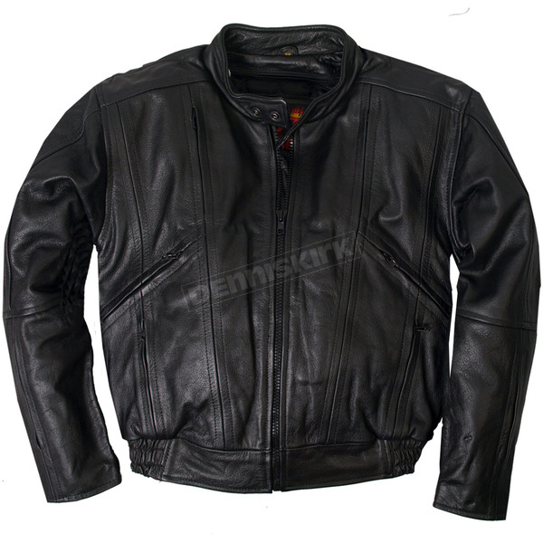 Hot Leathers Black Vented Leather Motorcycle Jacket - JKM1005-56