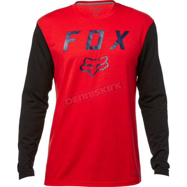 Fox Dark Red Contended Long Sleeve Tech Shirt - 19698-208-M
