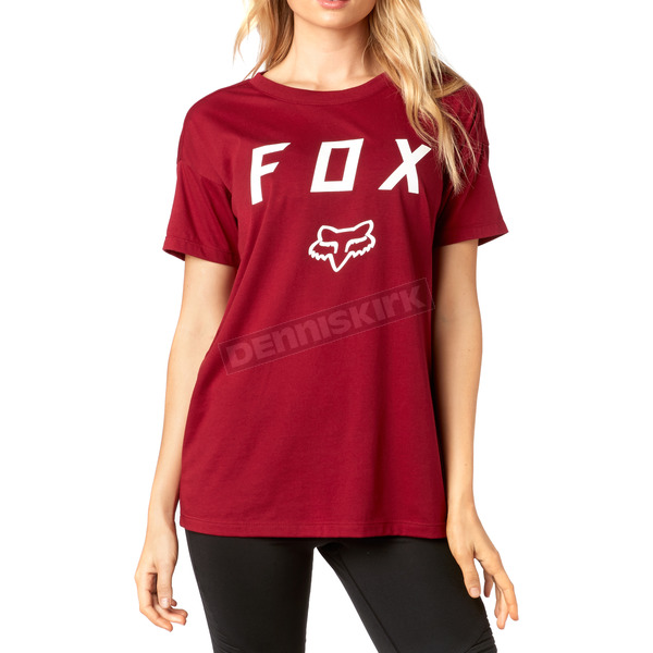 Fox Women's Dark Red District Crew T-Shirt - 19672-208-XS