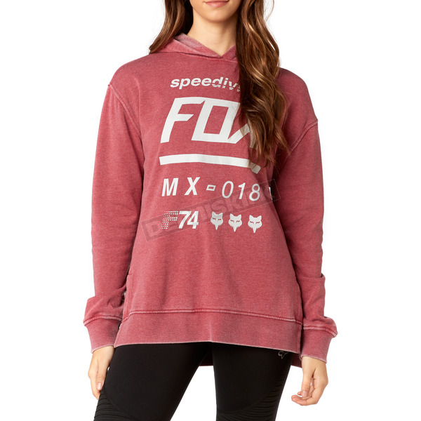 Fox Women's Dark Red Drafter Pullover Hoody - 19641-208-M