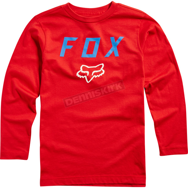 Fox Youth Dark Red Dusty Trails Long Sleeve Shirt - 19798-208-YL