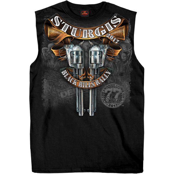 Hot Leathers Black 2017 Sturgis Crossed Pistols Sleeveless T-Shirt - SPM3619XXXL