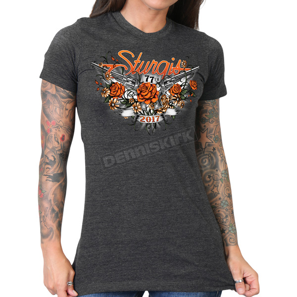 Hot Leathers Women's Heather Charcoal 2017 Sturgis Pistol Flowers T-Shirt - SPL1444L