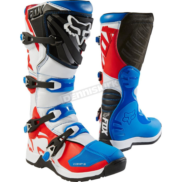 Fox Youth Blue/Red Comp 5  Boots - 18171-149-5