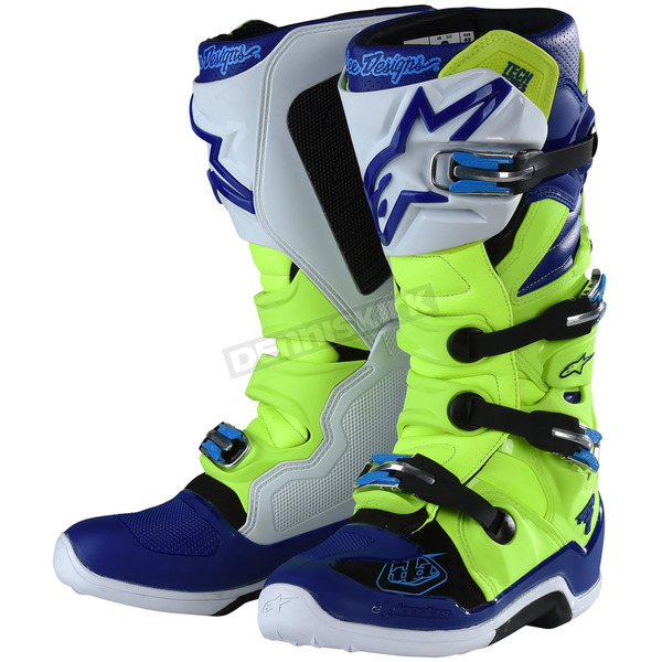 Alpinestars Yellow Fluorescent/Blue/White Tech 7 Troy Lee Designs Boots - 939198538
