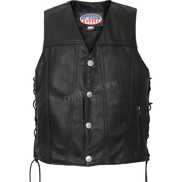 Hot Leathers USA Made Buffalo Nickel Snap Premium Leather Vest - VSM5005XL