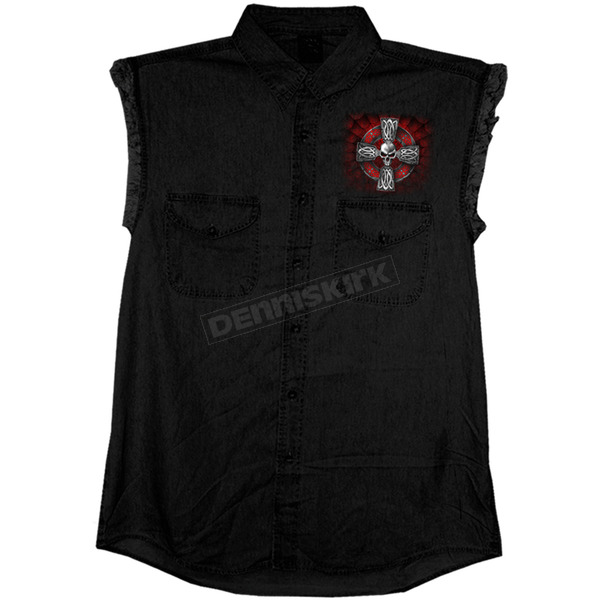 Hot Leathers Black Celtic Cross Sleeveless Shirt - GMD5022M