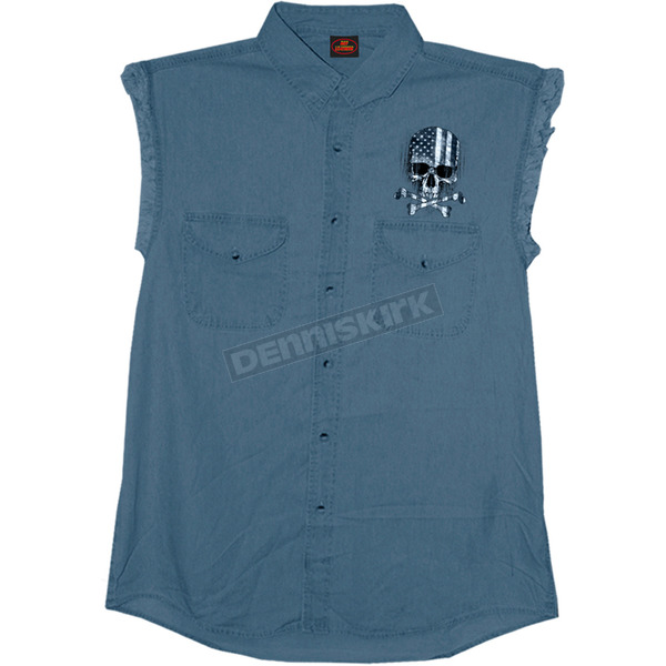 Hot Leathers Denim Flag Skull Sleeveless Shirt - GMD5372L