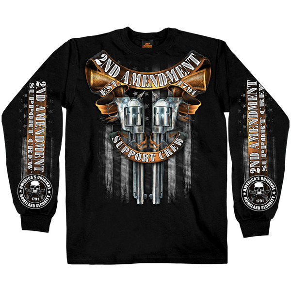 Hot Leathers Black Crossed Pistols Long Sleeve T-Shirt - GMD2385XXXL