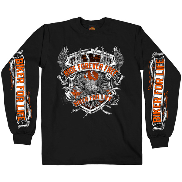 Hot Leathers Black Angry Eagle Long Sleeve T-Shirt - GMS2382M