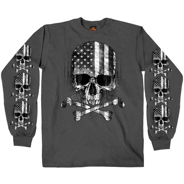 Hot Leathers Charcoal Flag Skull Long Sleeve T-Shirt - GMS2391XL