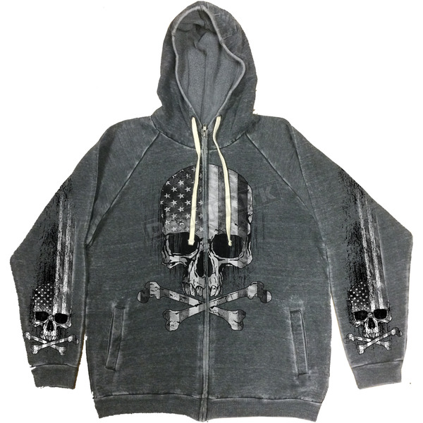 Hot Leathers Charcoal Flag Skull Hoody - GMZ4391L