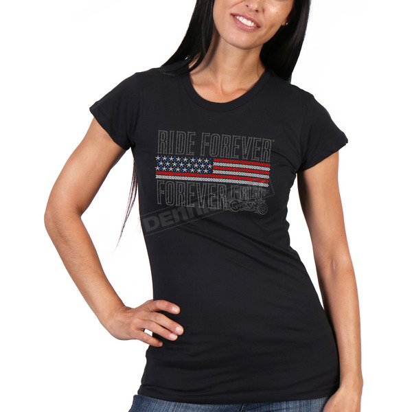 Hot Leathers Women's Black Flag Bling T-Shirt - GLR1428M
