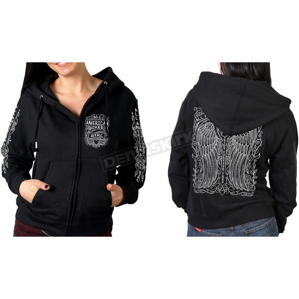 Hot Leathers Women's Black Chalk Angel Wings Hoody - GLZ4466XL