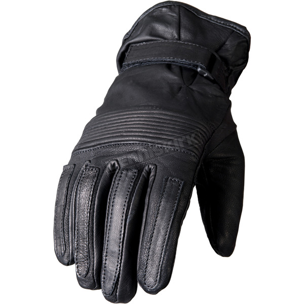 Hot Leathers Black Ribbed Leather Gloves - GVM1002L