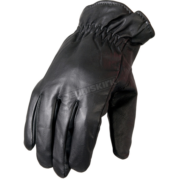 Hot Leathers Black Waterproof Unisex Leather Gloves - GVM1018M
