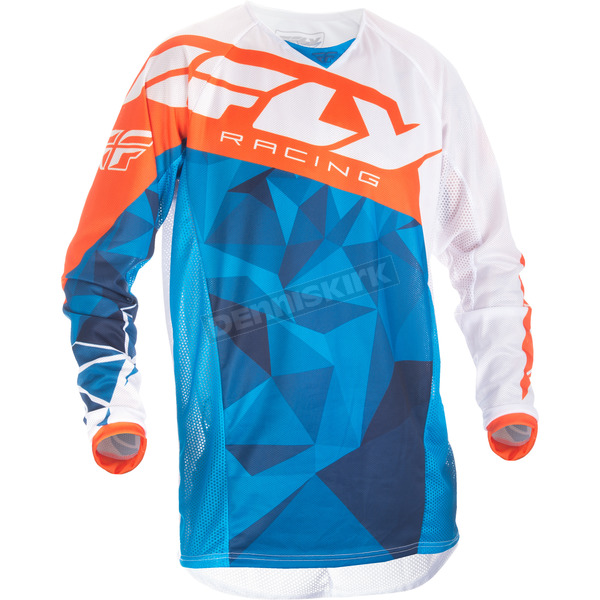Fly Racing Blue/White/Orange Crux Kinetic Mesh Jersey - 371-321X