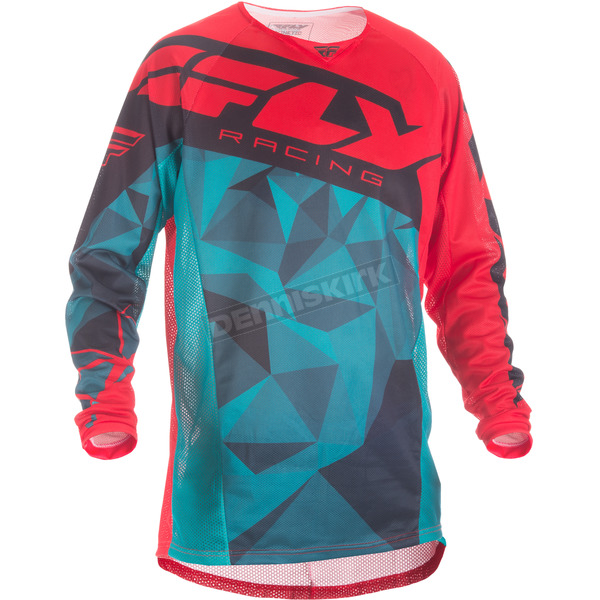 Fly Racing Teal/Red/Black Crux Kinetic Mesh Jersey - 371-3282X