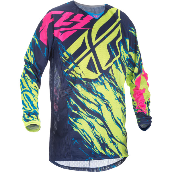 Fly Racing Hi-Vis/Blue/Pink Relapse Kinetic Mesh Jersey - 371-323S