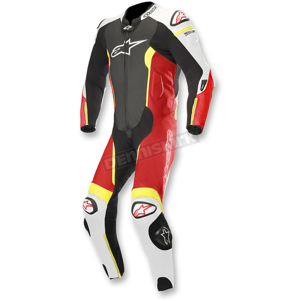Alpinestars Black/White/Flo Red/Flo Yellow Missile 1-Piece Leather Suit - 3150118-1236-52