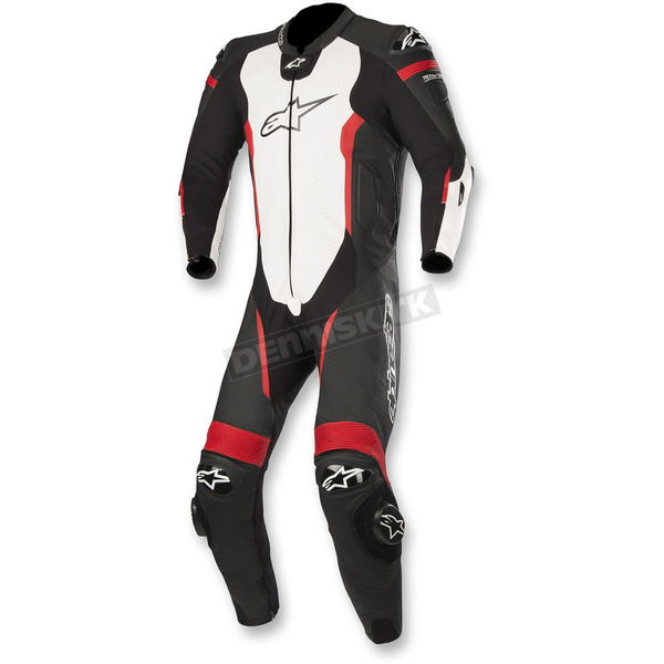 Alpinestars Black/White/Flo Red Missile 1-Piece Leather Suit - 3150118-1231-46