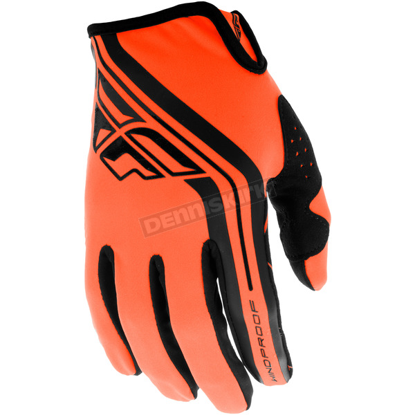 Fly Racing Black/Orange Windproof Lite Gloves - 371-14809
